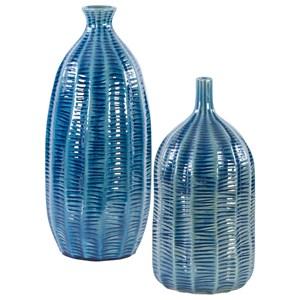 Bixby Blue Vases, Set of 2