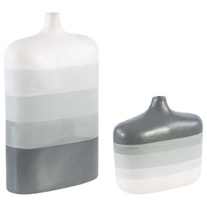 Guevara Striped Gray Vases, S/2