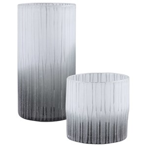 Como Etched Glass Vases, S/2