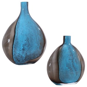 Adrie Art Glass Vases, Set of 2