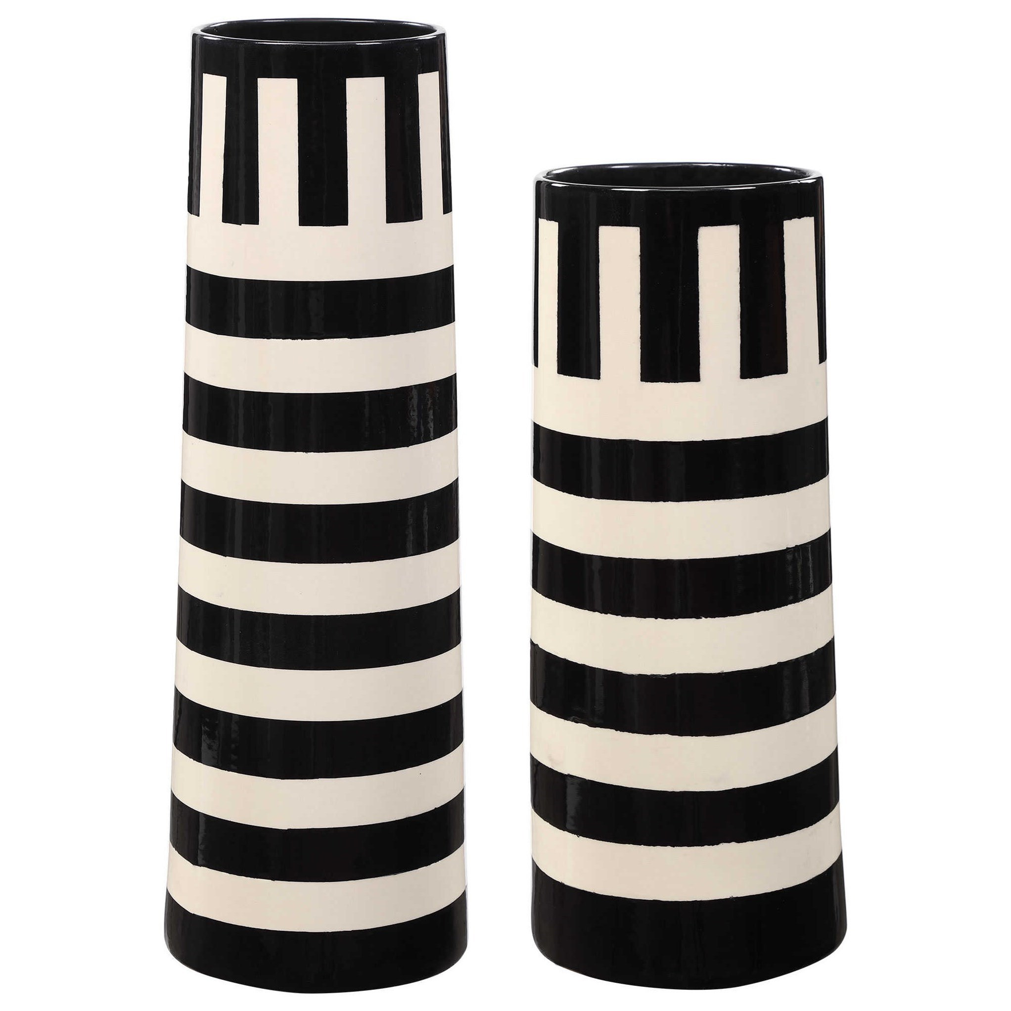 Accessories - Vases and Urns Black & White Vases, S/2 by Uttermost at Mueller Furniture