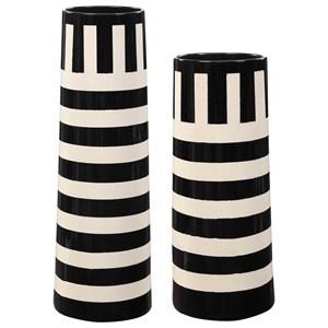 Black & White Vases, Set of 2