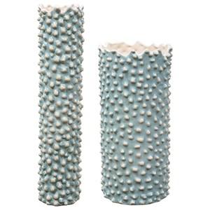 Aqua Ceramic Vases, S/2