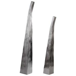 Matte Nickel Vases Set of 2