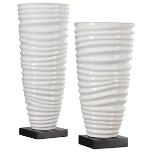 Kiera Aged White Vases, S/2