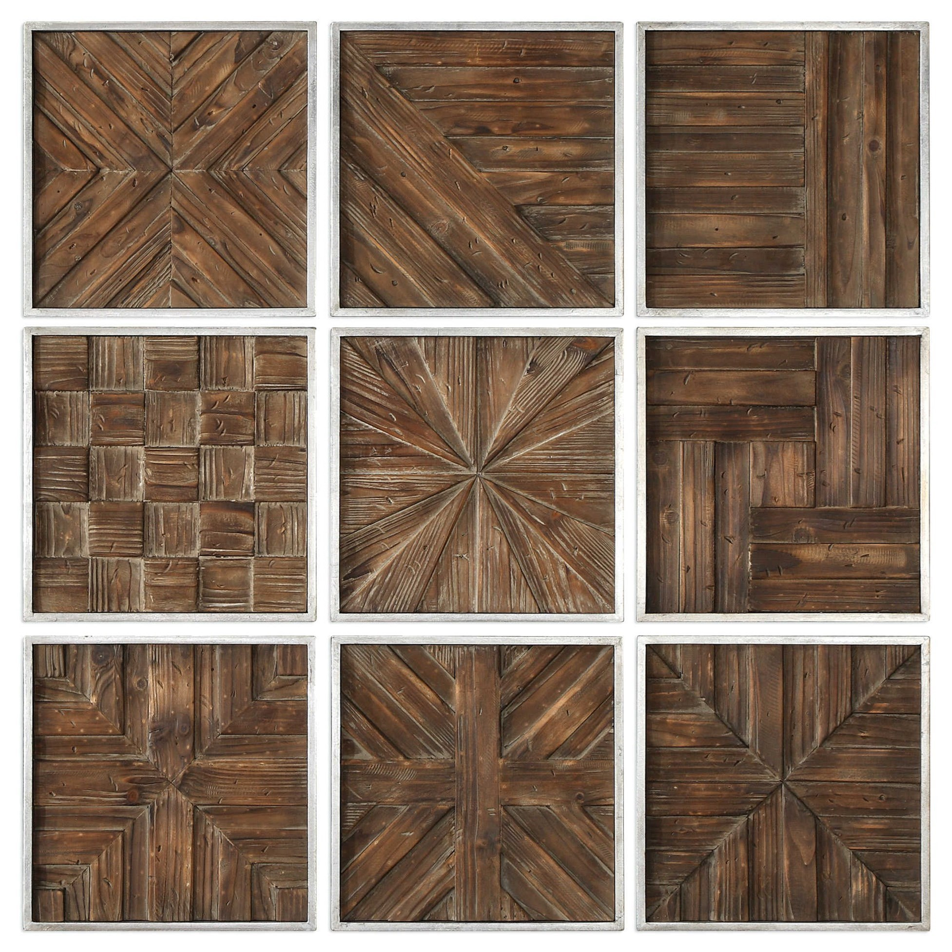 Art Bryndle Rustic Wooden Squares Set of 9 by Uttermost at Wayside Furniture