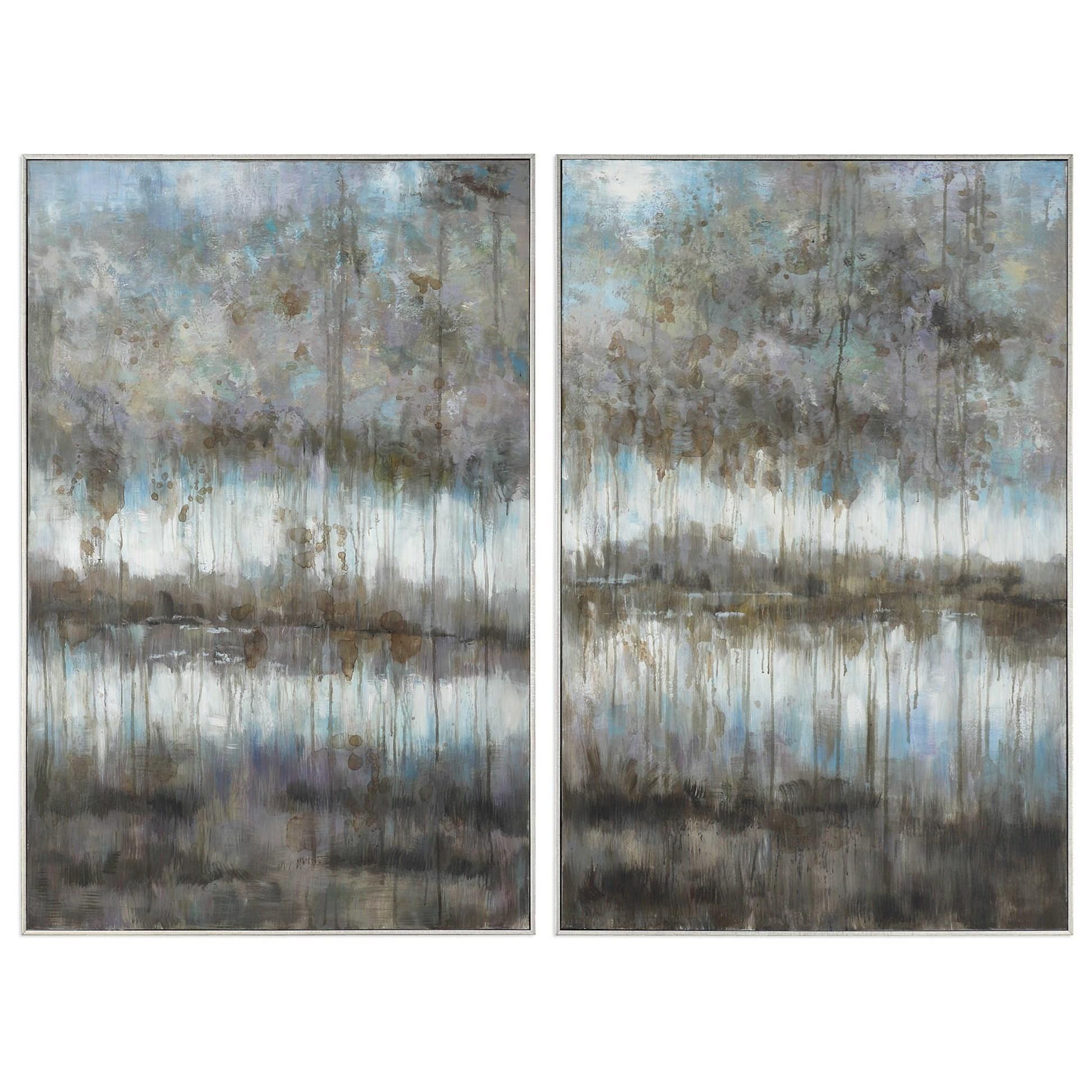 Art Gray Reflections Landscape Art Set of 2 by Unique at Walker's Furniture