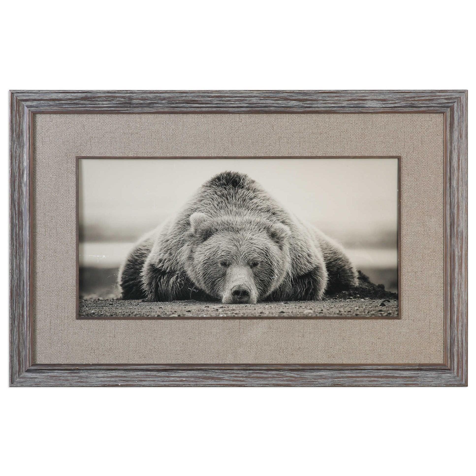 Framed Prints Deep Sleep Bear Print by Unique at Walker's Furniture