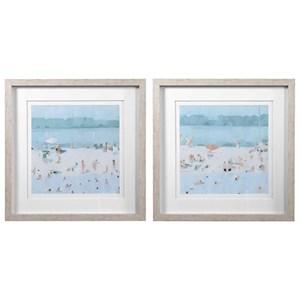 Sea Glass Sandbar Framed Prints, Set/2