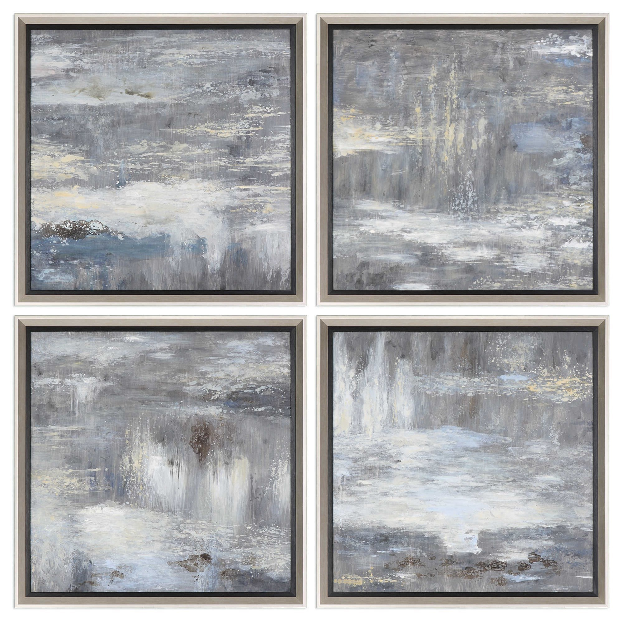 Art Shades Of Gray Hand Painted Art Set of 4 by Unique at Walker's Furniture