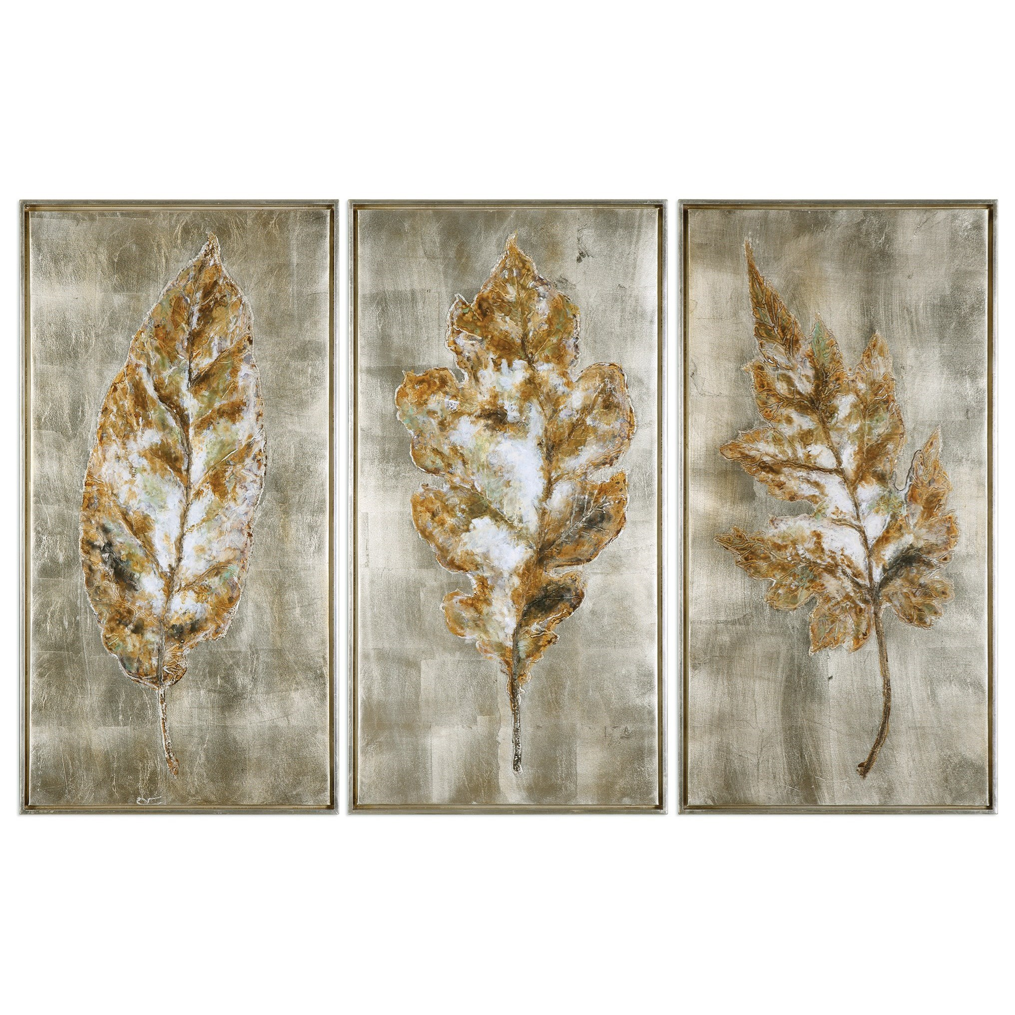 Art Champagne Leaves (Set of 3) by Uttermost at Wayside Furniture