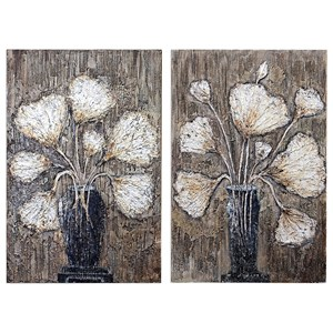 Clear Water Stems Floral Art S/2