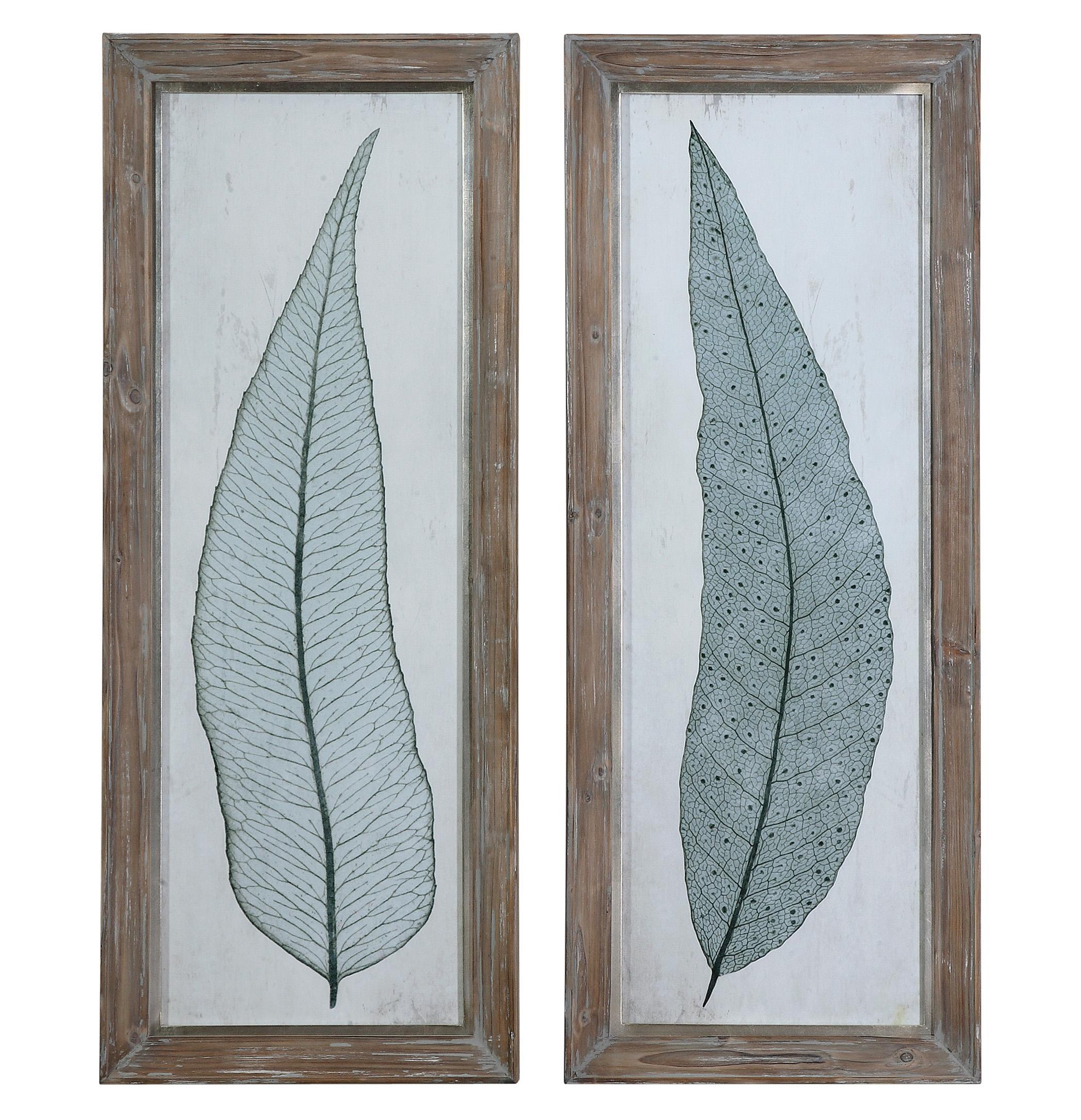 Framed Prints Tall Leaves Framed Art Set of 2 by Uttermost at Mueller Furniture