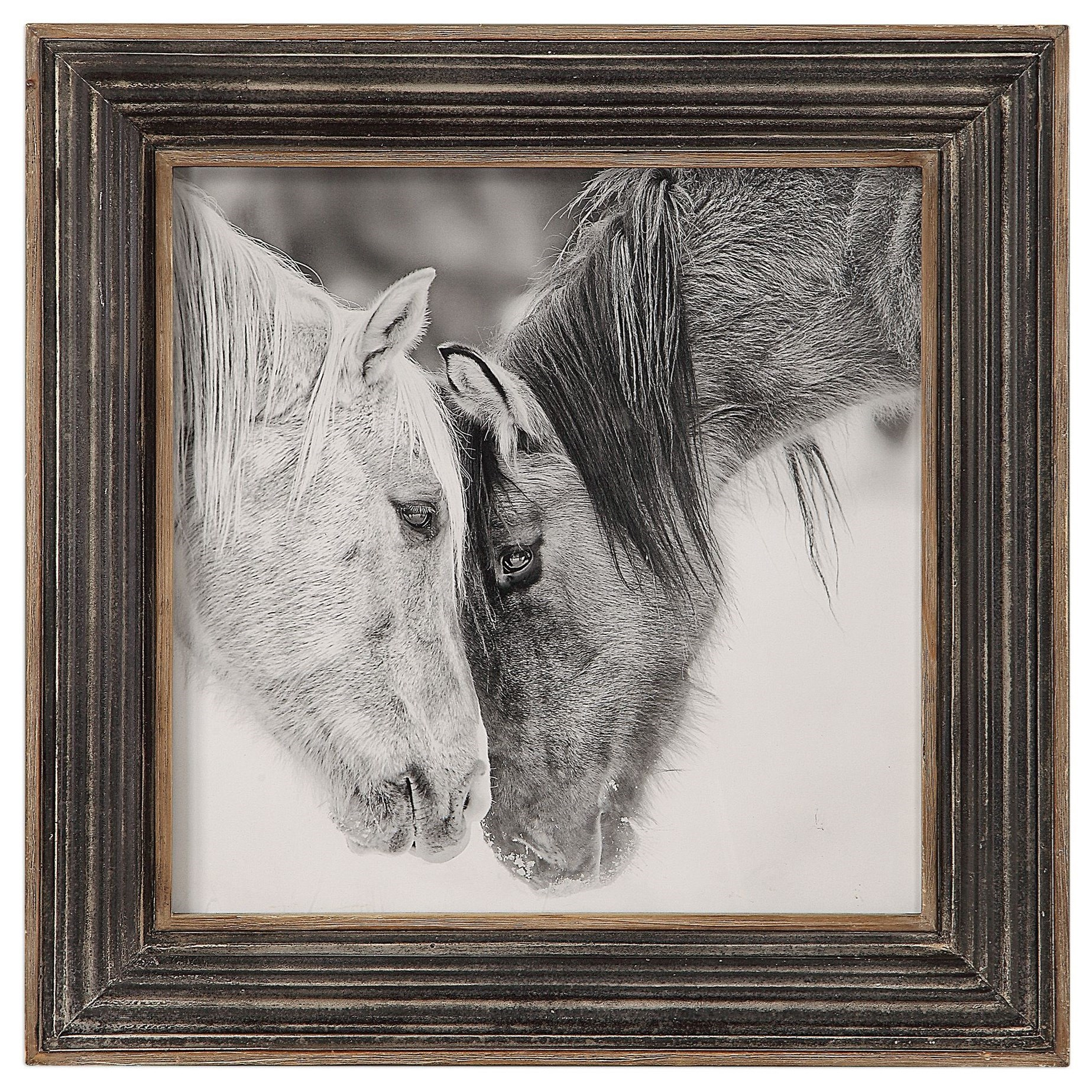Framed Prints Custom Black And White Horses Print by Uttermost at Suburban Furniture