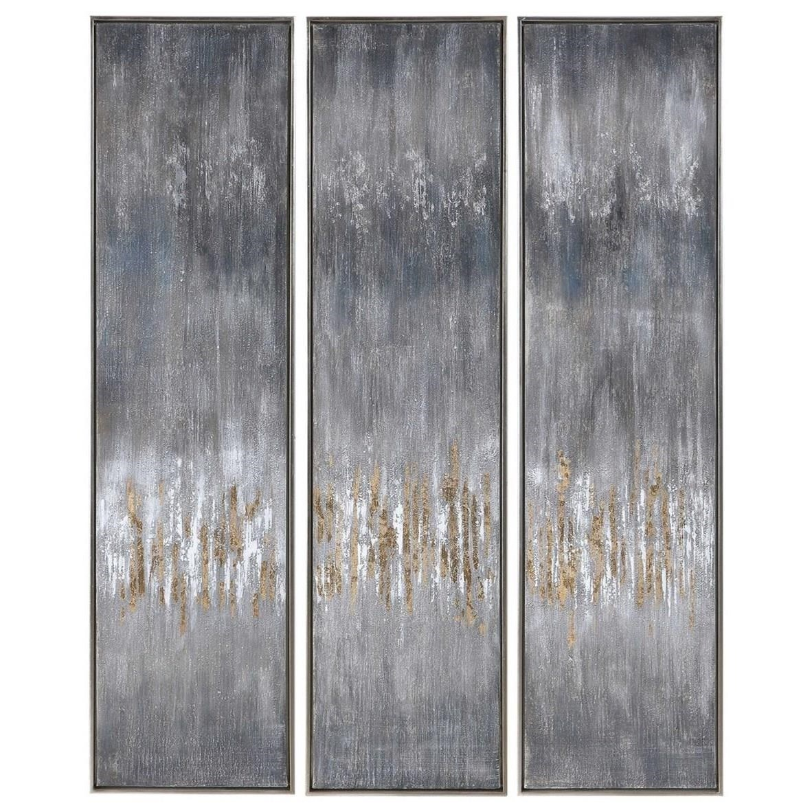 Gray Showers Hand Painted Canvases, Set/3