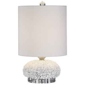 White Floral Buffet Lamp