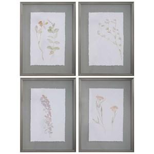 Flourish Framed Botanical Prints, S/4