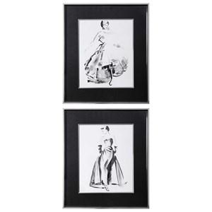 Vintage Costume Sketch Framed Prints, S/2
