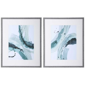 Depth Abstract Watercolor Prints, S/2