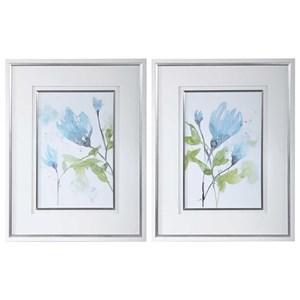 Cerulean Splash Floral Prints, S/2