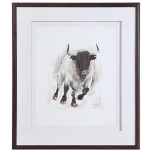 Rustic Bull Framed Animal Print