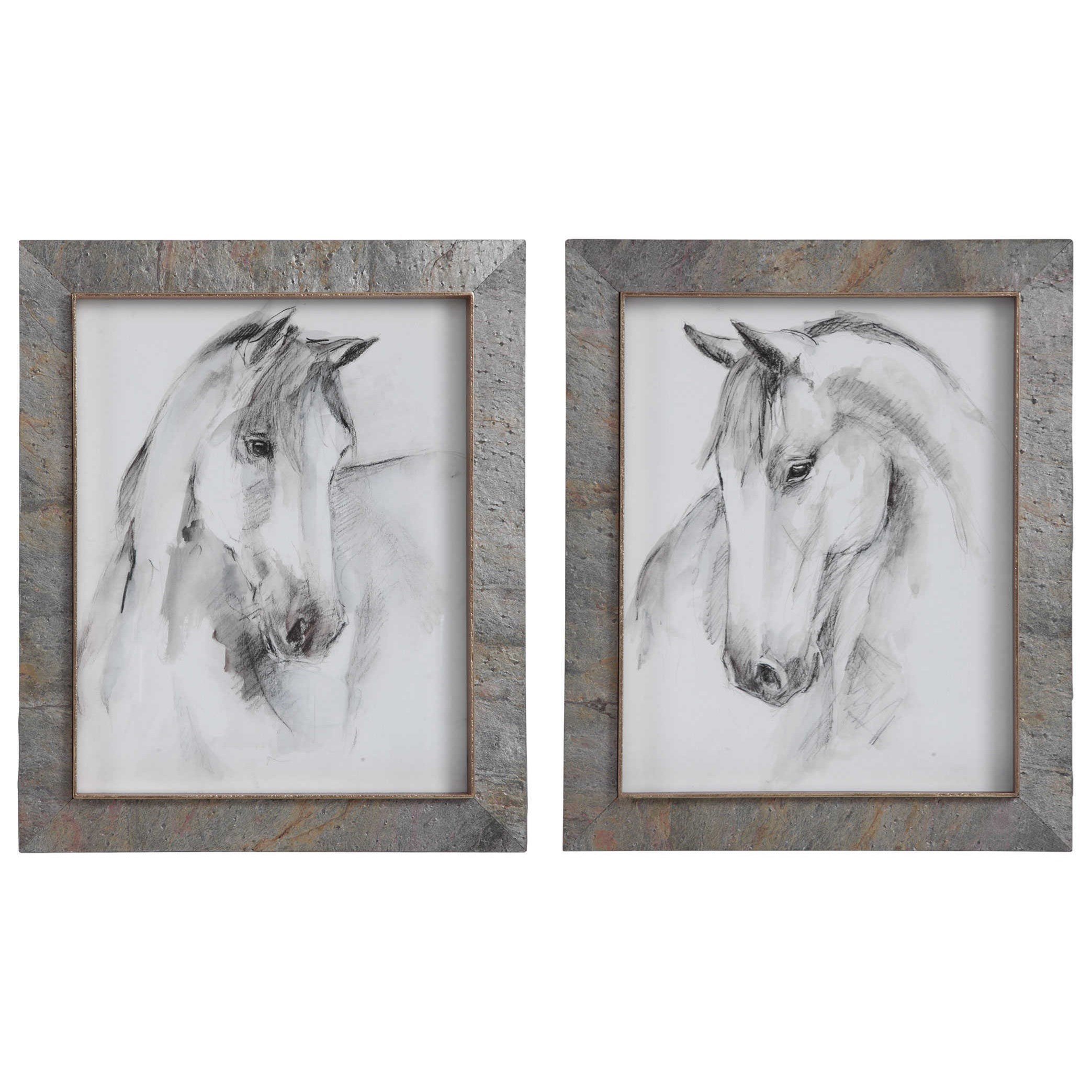 Framed Prints Equestrian Watercolor Framed Prints, S/2 by Uttermost at Furniture Superstore - Rochester, MN