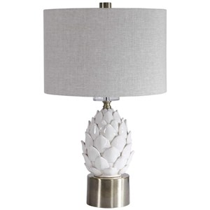 White Artichoke Table Lamp