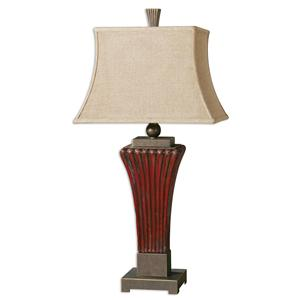 Uttermost Lamps Rosso Ribbed Ceramic Lamp