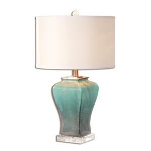 Uttermost Lamps Valtorta Blue-Green Glass Table Lamp