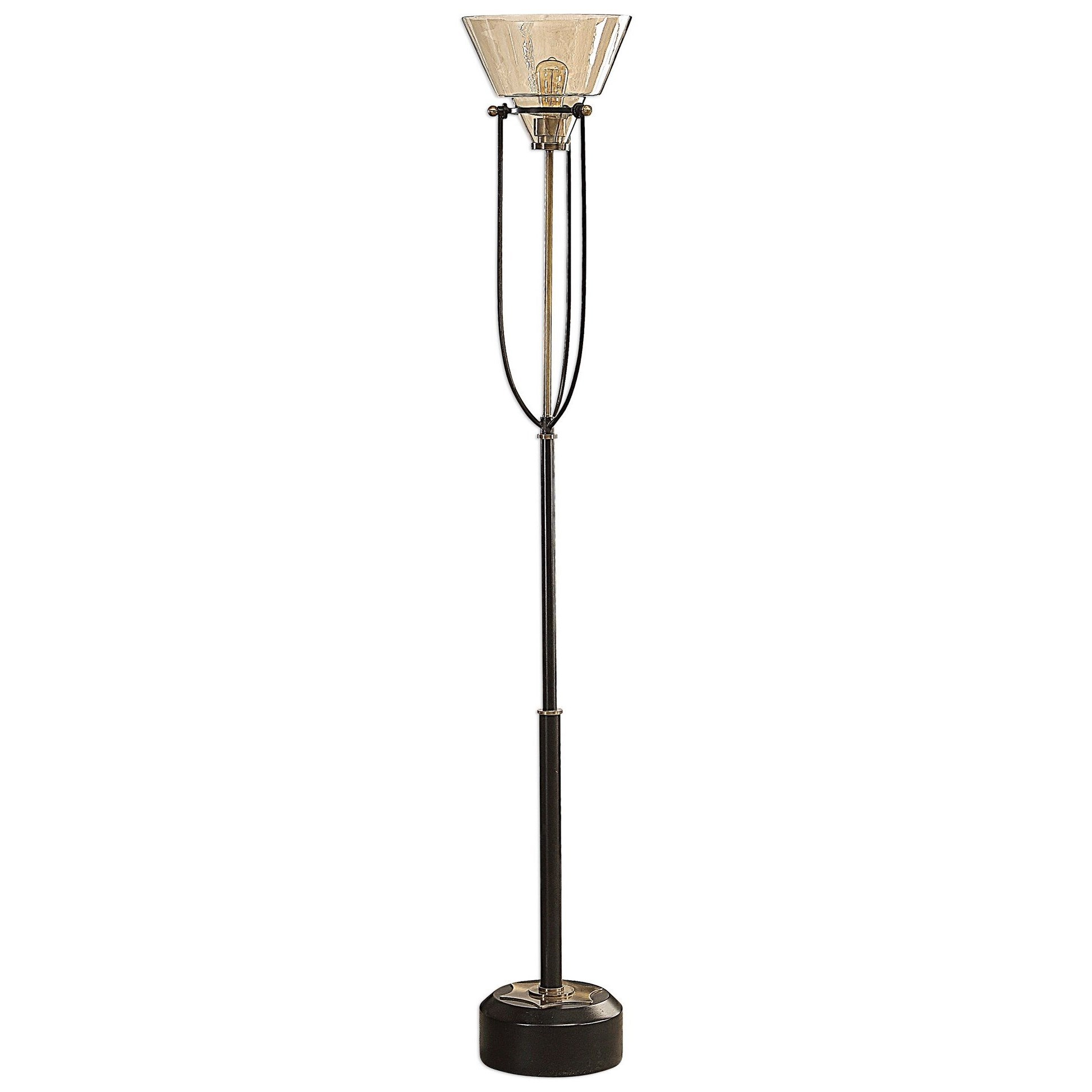 Floor Lamps Amaleeda Amber Glass Floor Lamp by Uttermost at Mueller Furniture