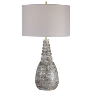 White Crackle Table Lamp