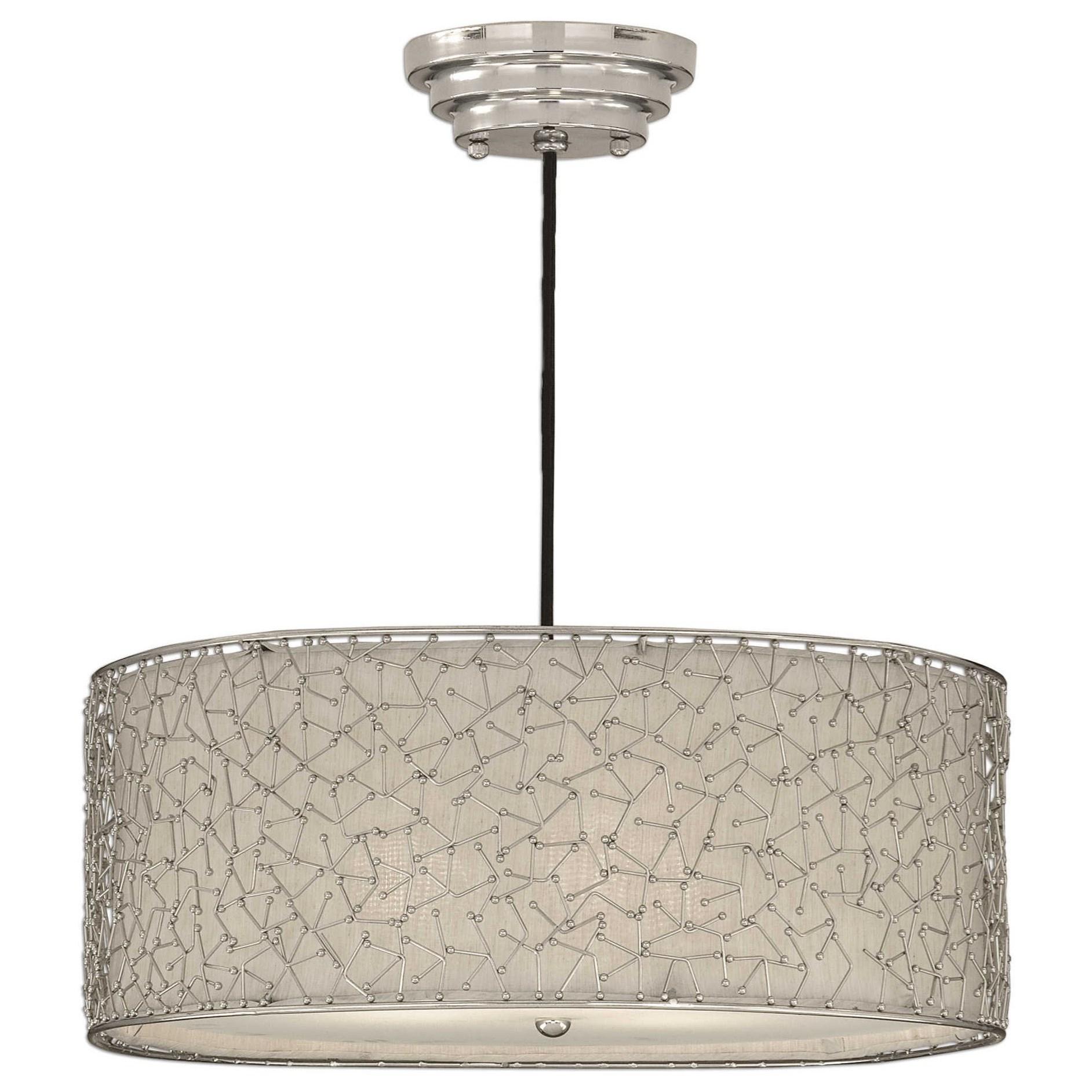 Lighting Fixtures - Pendant Lights Brandon Silver 3 Light Hanging Shade by Uttermost at Mueller Furniture