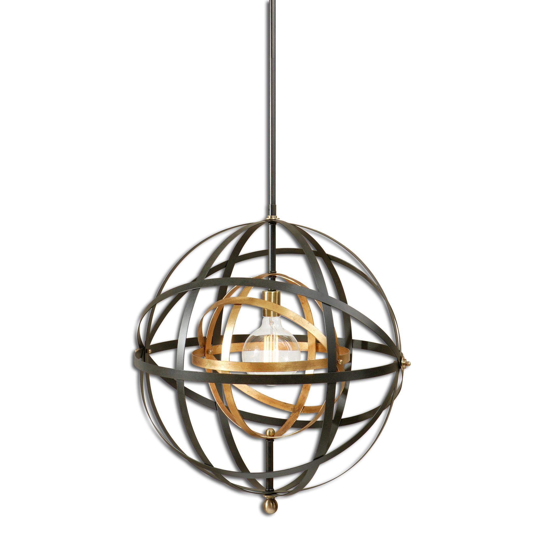 Lighting Fixtures - Pendant Lights Rondure 1 Light Sphere Pendant by Uttermost at Mueller Furniture