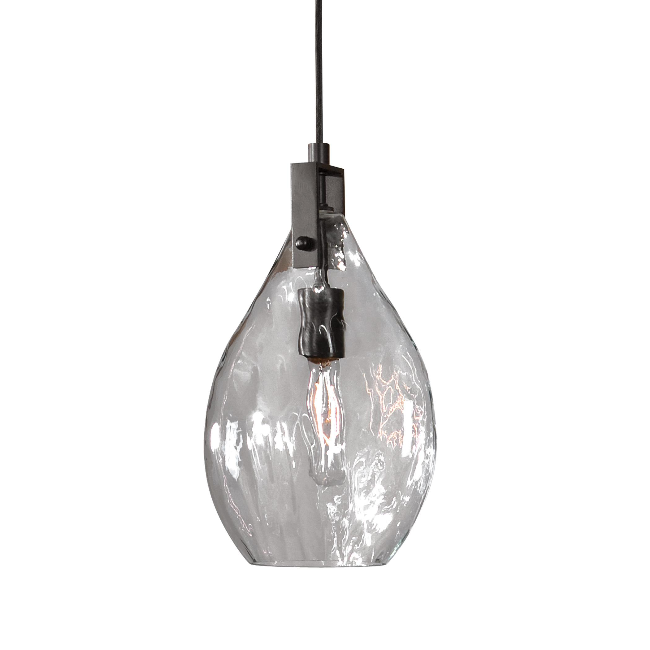 Lighting Fixtures - Pendant Lights Campester 1 Light Watered Glass Mini Pendant by Uttermost at Mueller Furniture