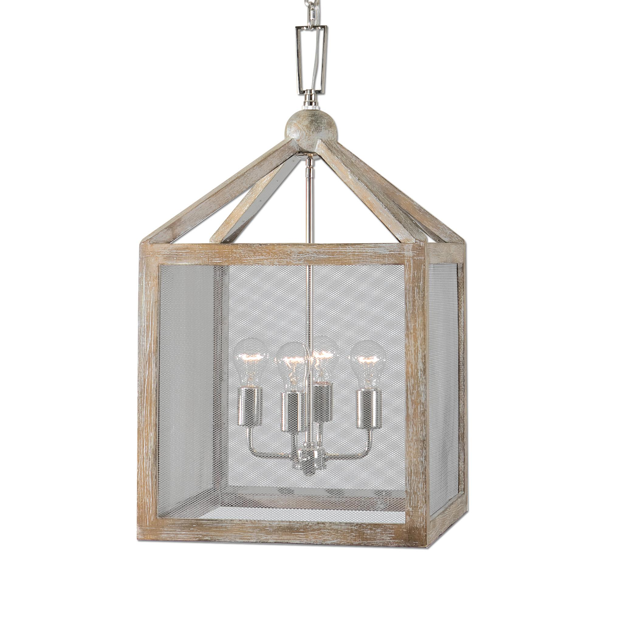 Lighting Fixtures - Pendant Lights Nashua 4 Light Wooden Lantern Pendant by Uttermost at Stuckey Furniture