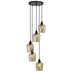 Aarush 5 Light Glass Cluster Pendant