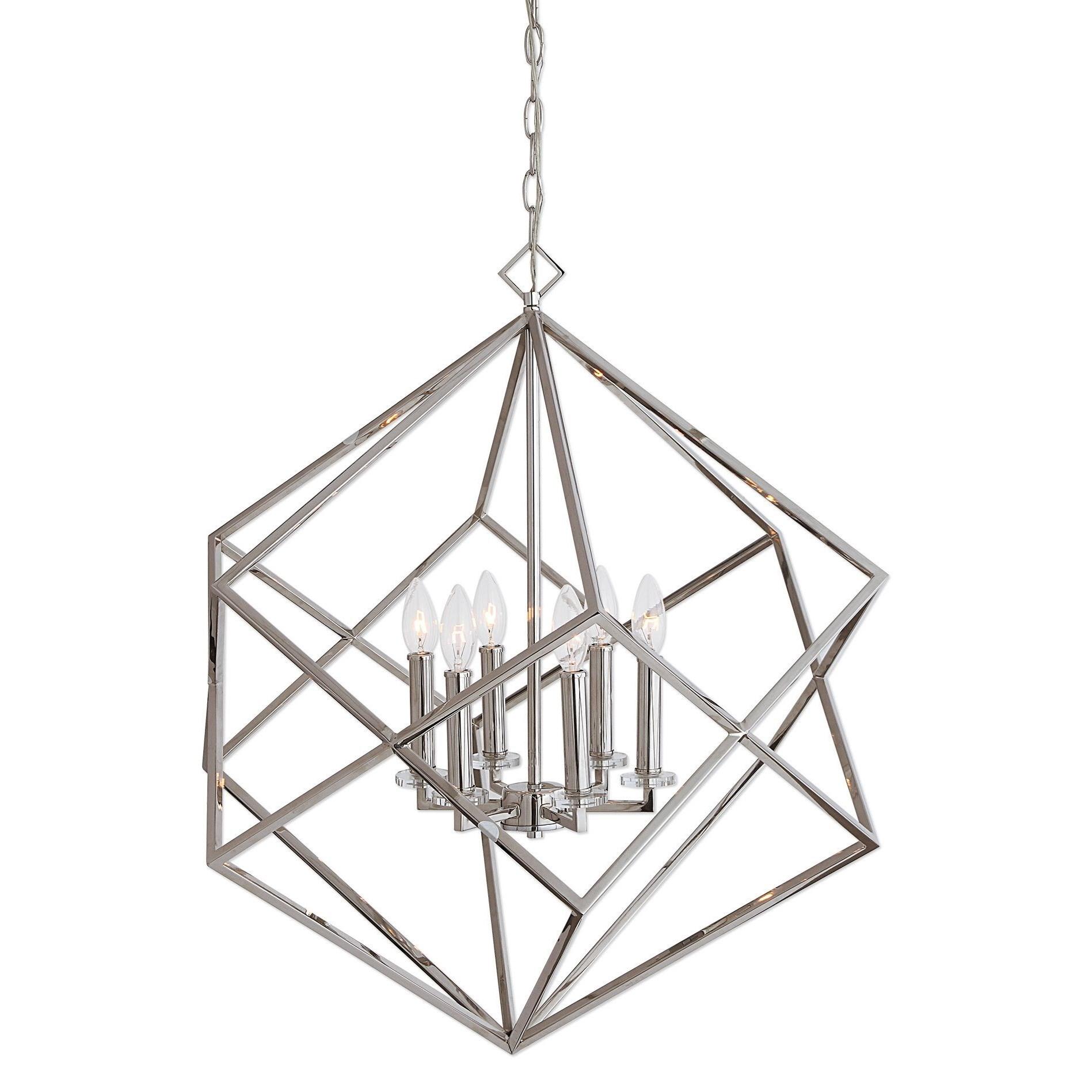 Lighting Fixtures - Pendant Lights Euclid 6 Light Nickel Cube Pendant by Uttermost at Mueller Furniture