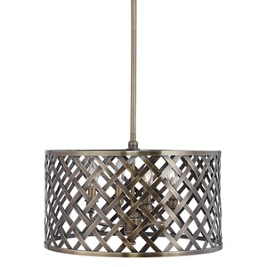 Grata 4 Light Brass Latticework Pendant