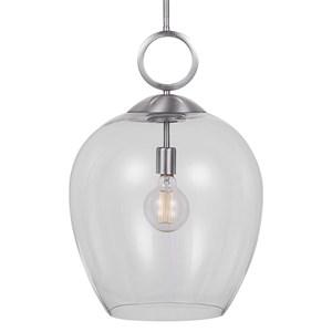 Calix Nickel 1 Light Glass Pendant