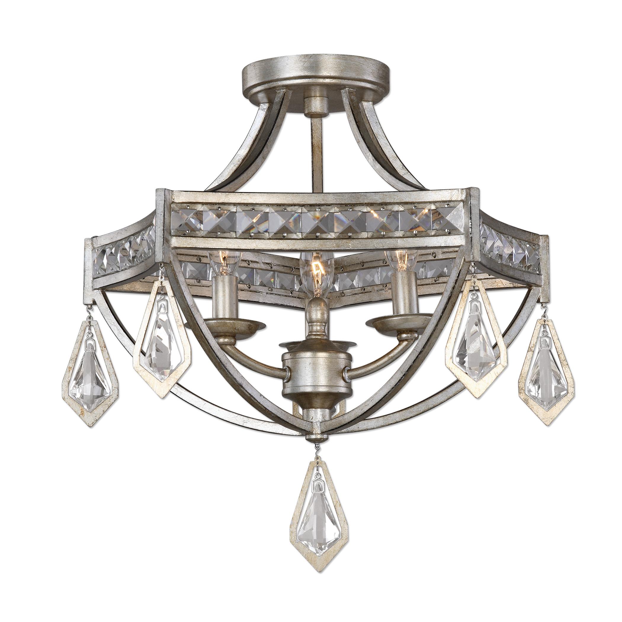 Lighting Fixtures - Pendant Lights Tamworth Modern 3 Light Semi Flush by Uttermost at Mueller Furniture