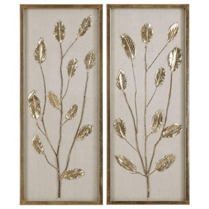 Branching Out Gold Leaf Panels Set of 2