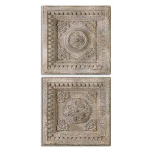Uttermost Alternative Wall Decor Auronzo Aged Ivory Squares, S/2