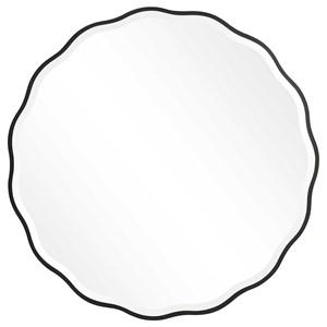 Aneta Black Round Mirror