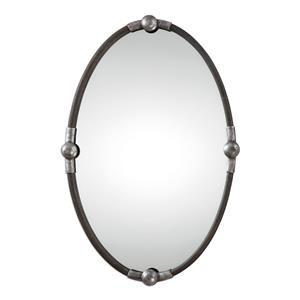Carrick Black Oval Mirror