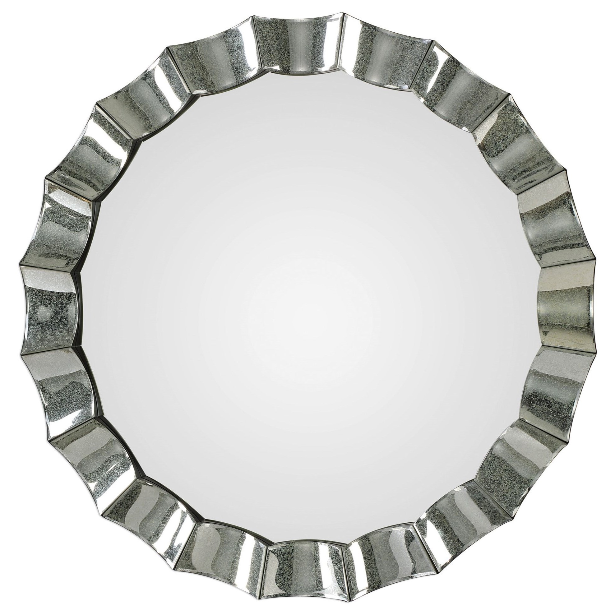 Mirrors - Round Sabino Scalloped Round Mirror by Uttermost at Upper Room Home Furnishings