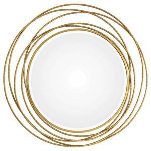 Whirlwind Gold Round Mirror