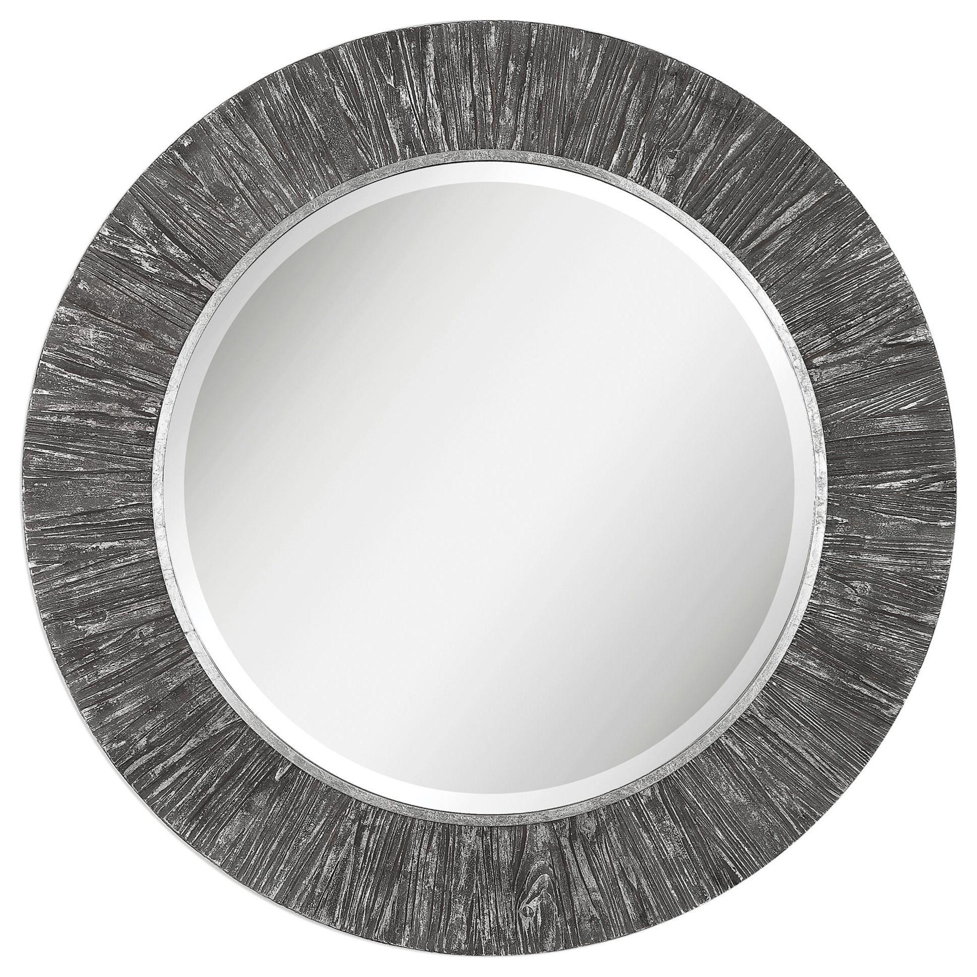 Mirrors - Round Wenton Round Aged Wood Mirror by Uttermost at Lucas Furniture & Mattress