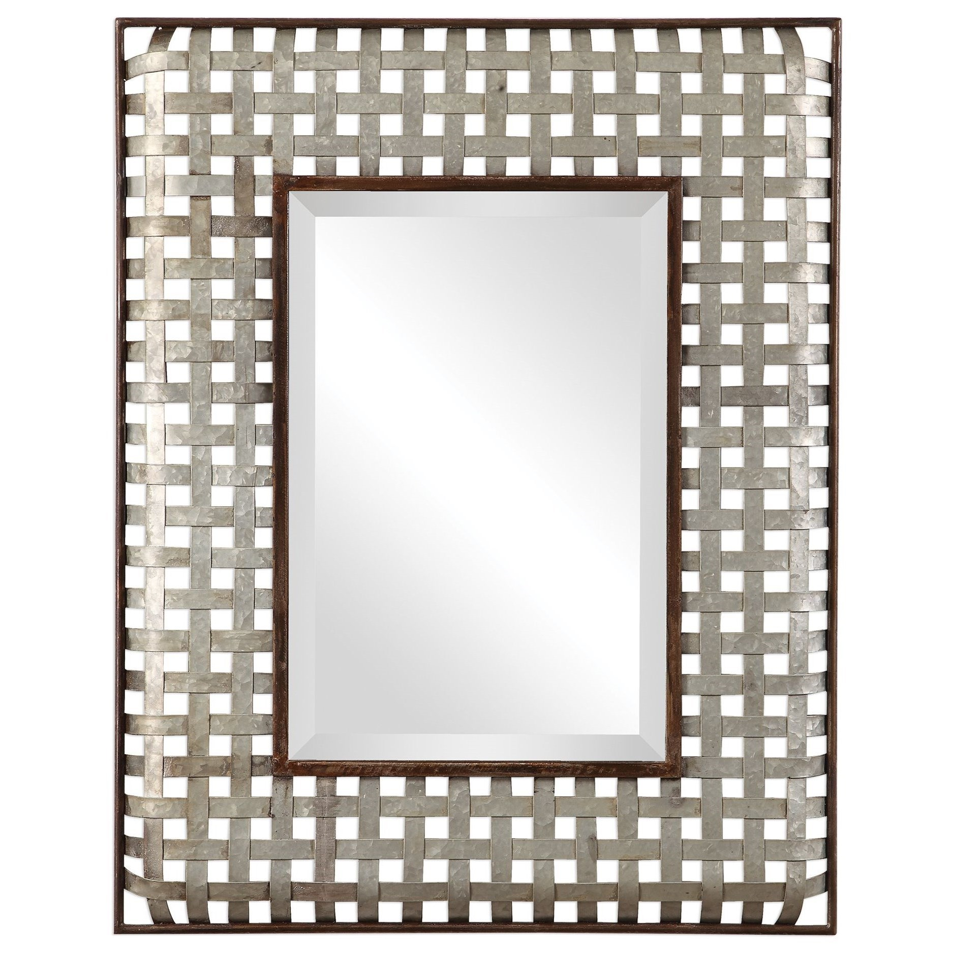 Mirrors Fabelle Galvanized Metal Mirror by Uttermost at Miller Waldrop Furniture and Decor