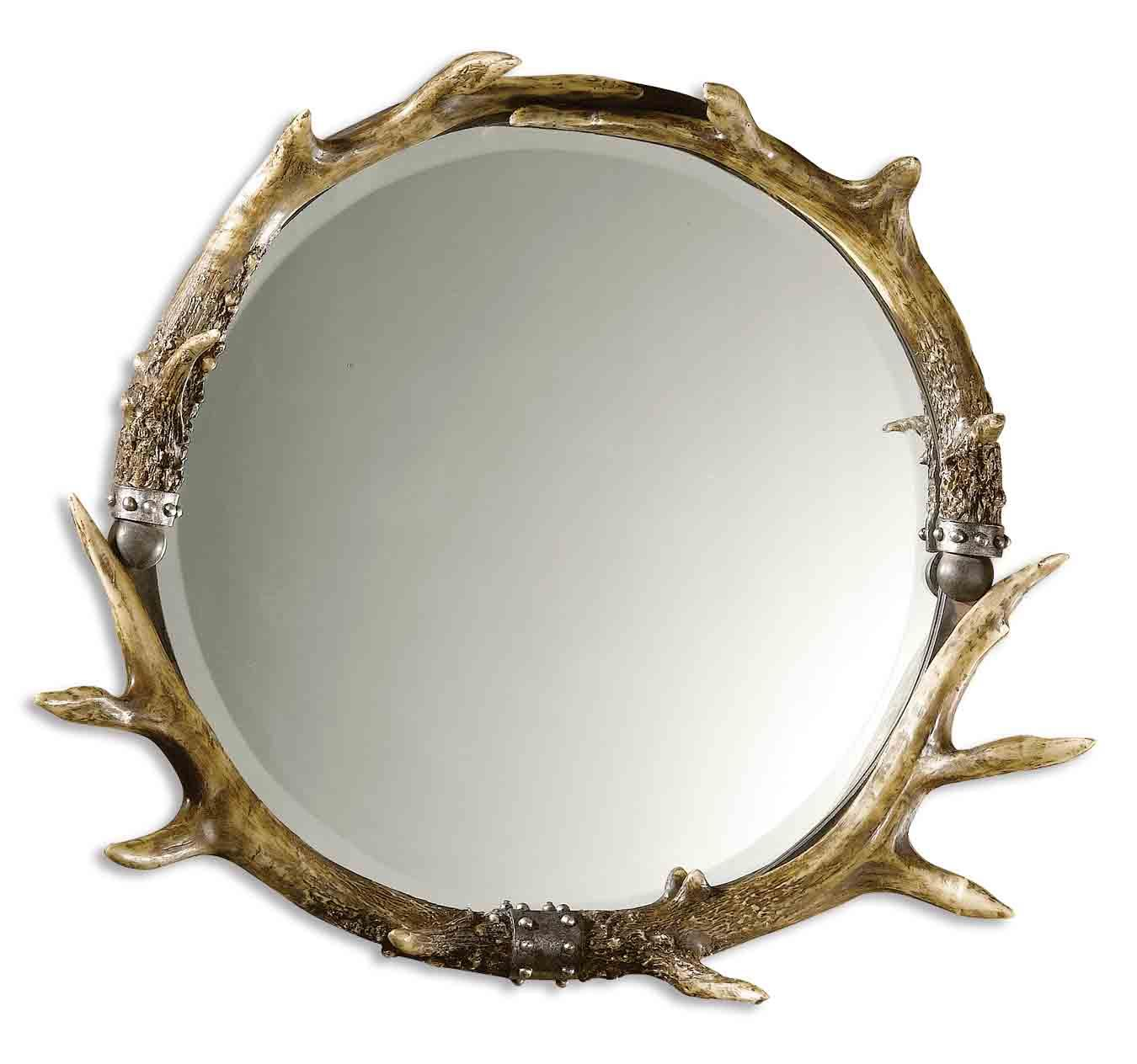 Mirrors - Round Stag Horn Mirror Round by Uttermost at Stuckey Furniture