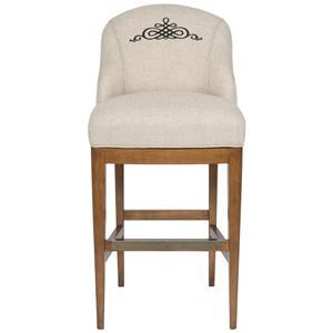 Upholstered Bar Stool with Curved Back and Monogrammed Medallion Design